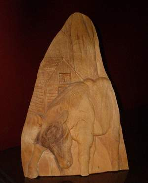 pic: Relief Wood Carving: Belgain Work Horse