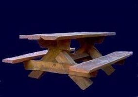 Image of Milled Log Picnic Table
